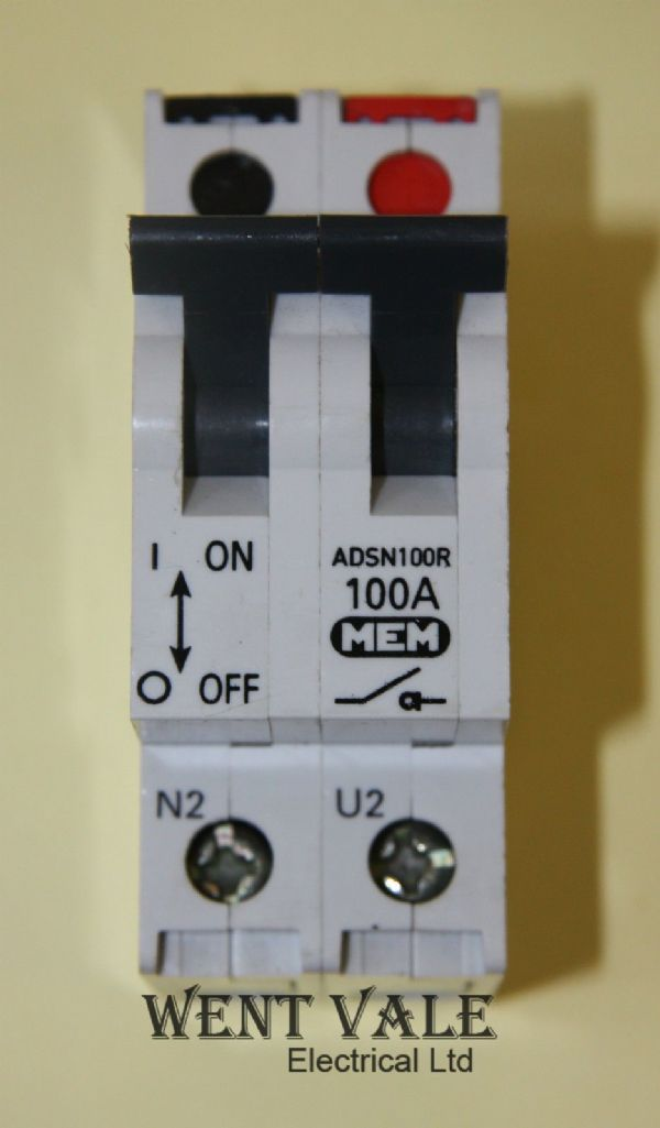 MEM Memshield 2 - ADSN100R - 100a AC22B Double Pole Switch Disconnector Used